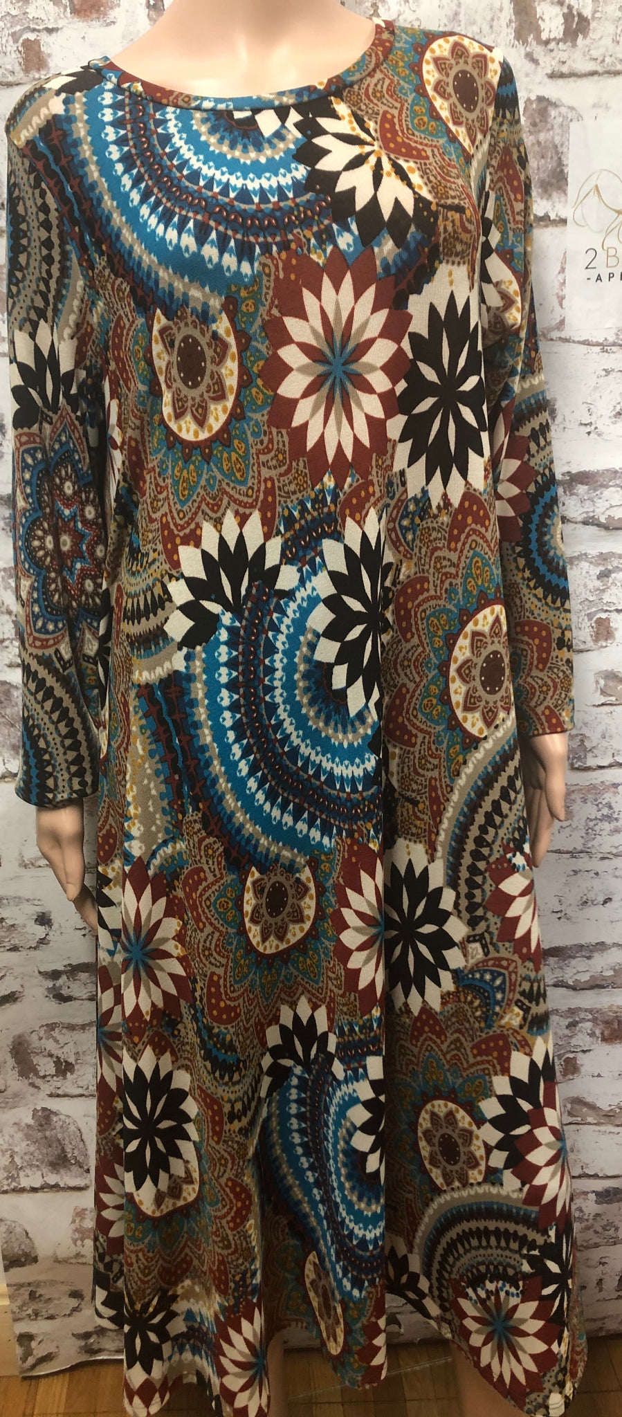 Plus Long Sleeve Hacci Rust Pattern Dress