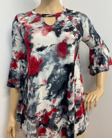 Plus Size Red Tye Dye Top with Keyhole