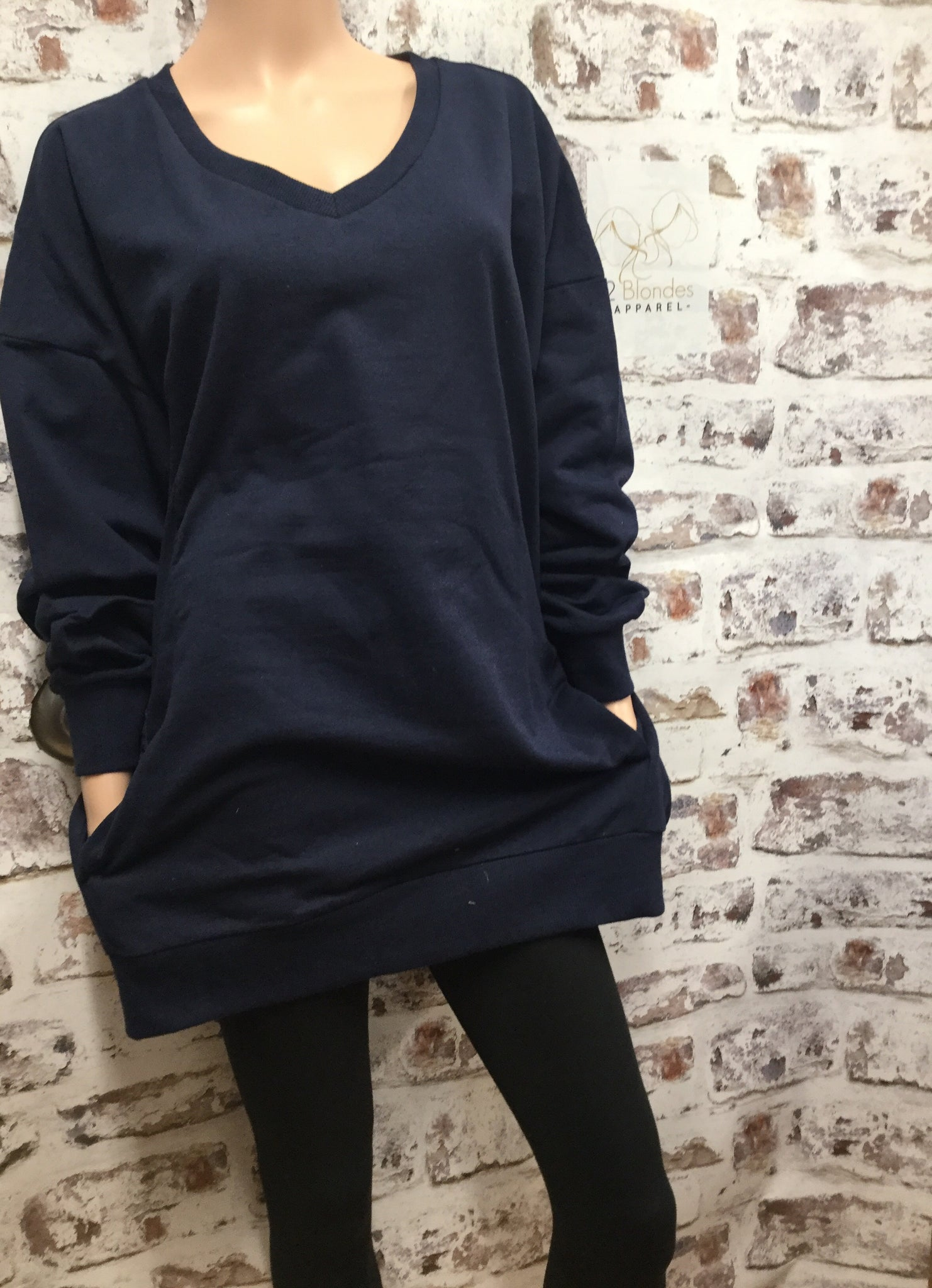 Navy V-Neck Oversized  Sweatshirt w/ Pockets