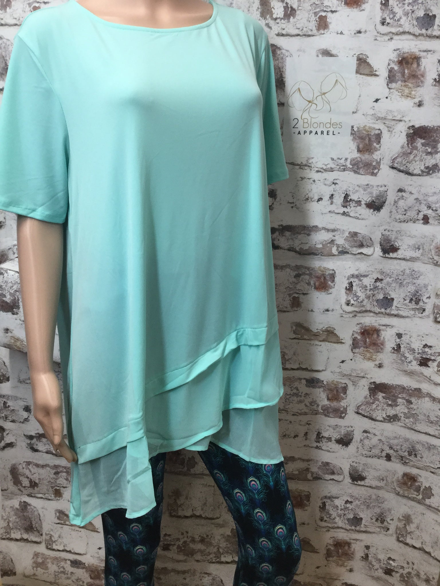 Plus Size Sea Foam Green Round Neck Short Sleeve with Chiffon Overlap