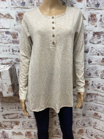 Long Sleeve Top with Button Accent
