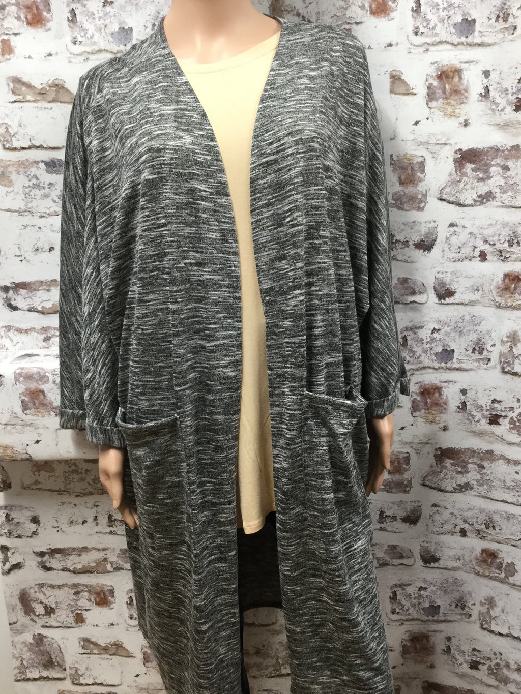Plus Size Hacci Knit Cardigan with Pocket