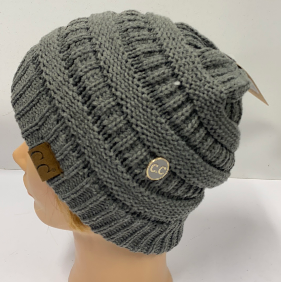 Dark Gray Beanie with Buttons for Mask