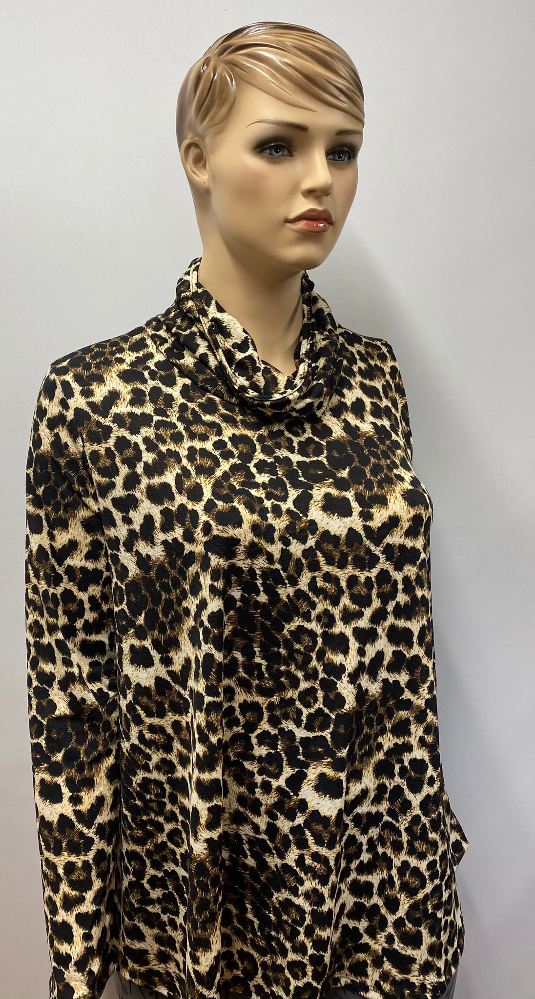 Plus Size Leopard Printed Top with Built in Mask