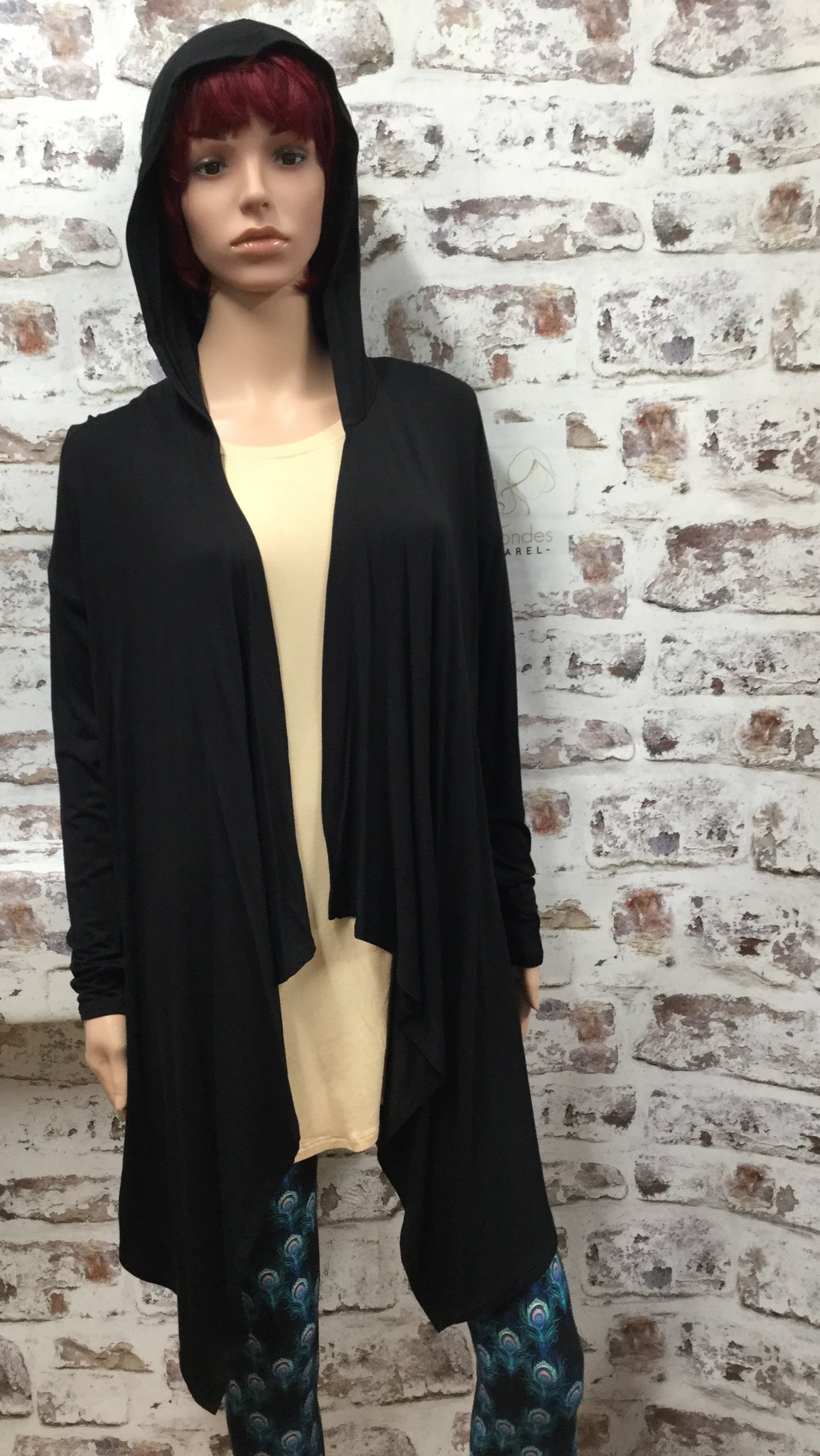 Mid Length Black Front Drape Hooded Cardigan