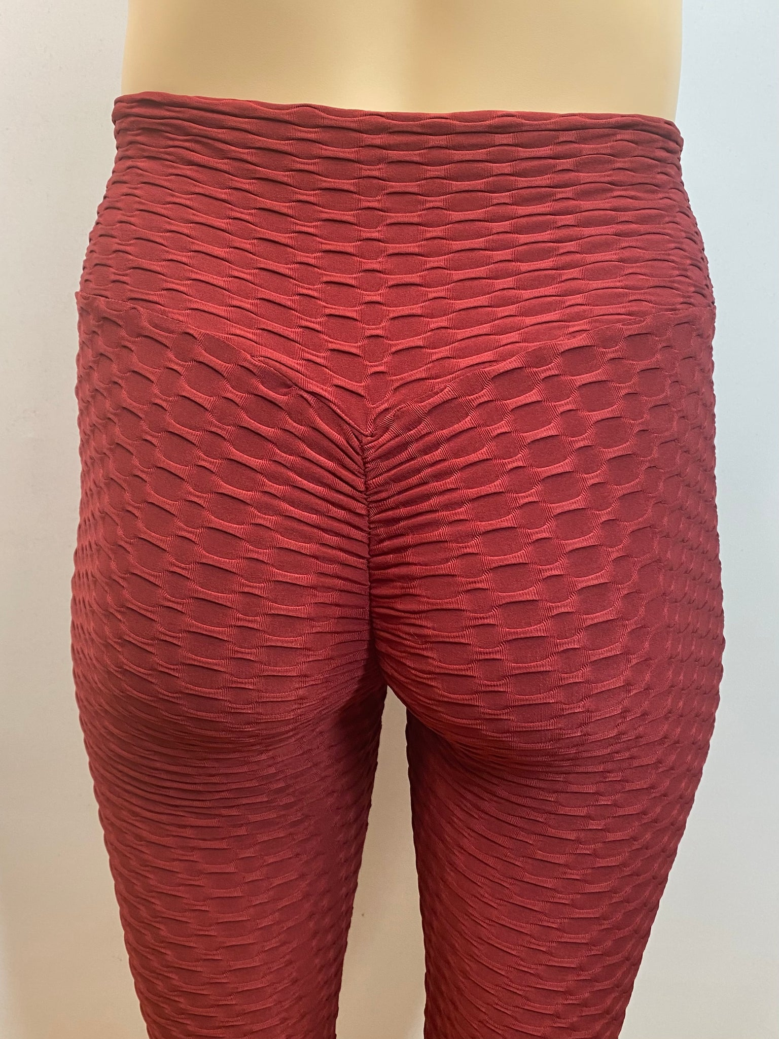Extra Plus Textured Honeycomb Burgundy Shaping Leggings