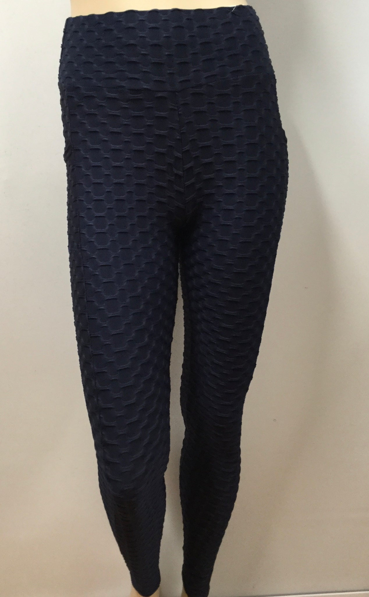 Textured Honeycomb Navy Leggings with pockets