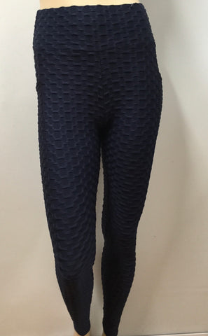 Textured Honeycomb Navy Leggings