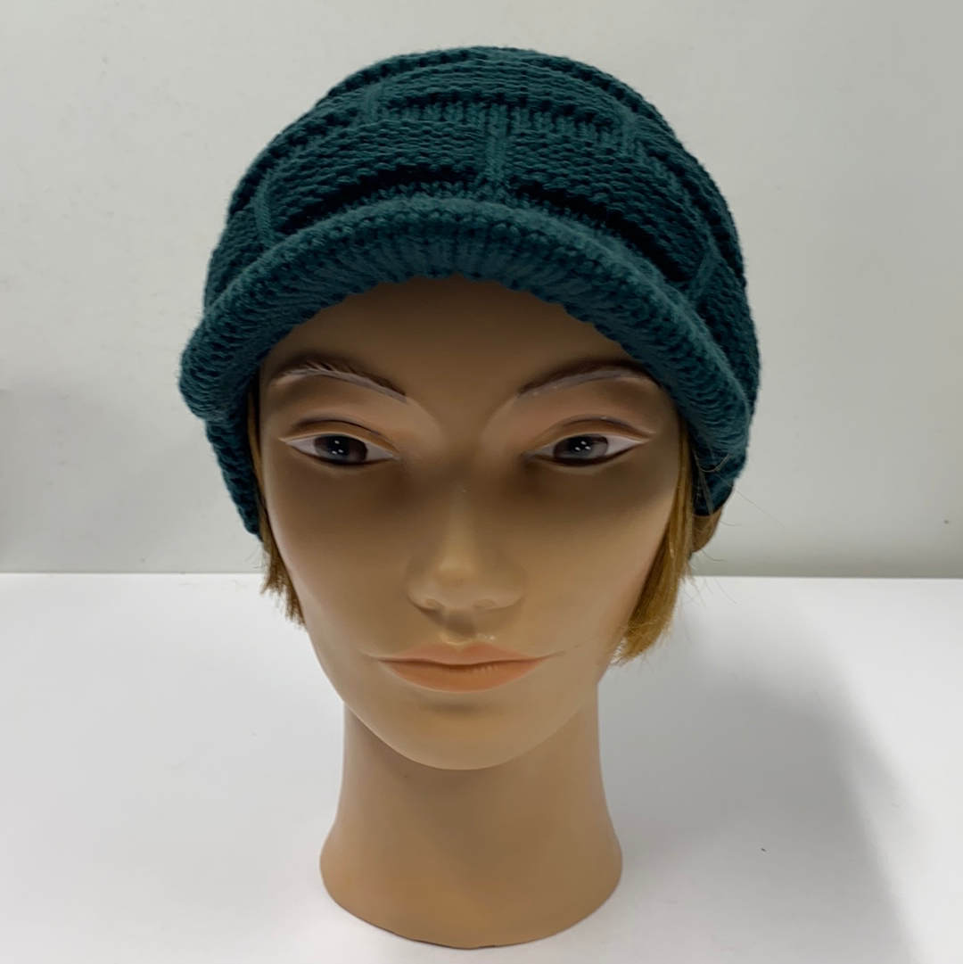 Deep Pine Green Knit Hat with Brim