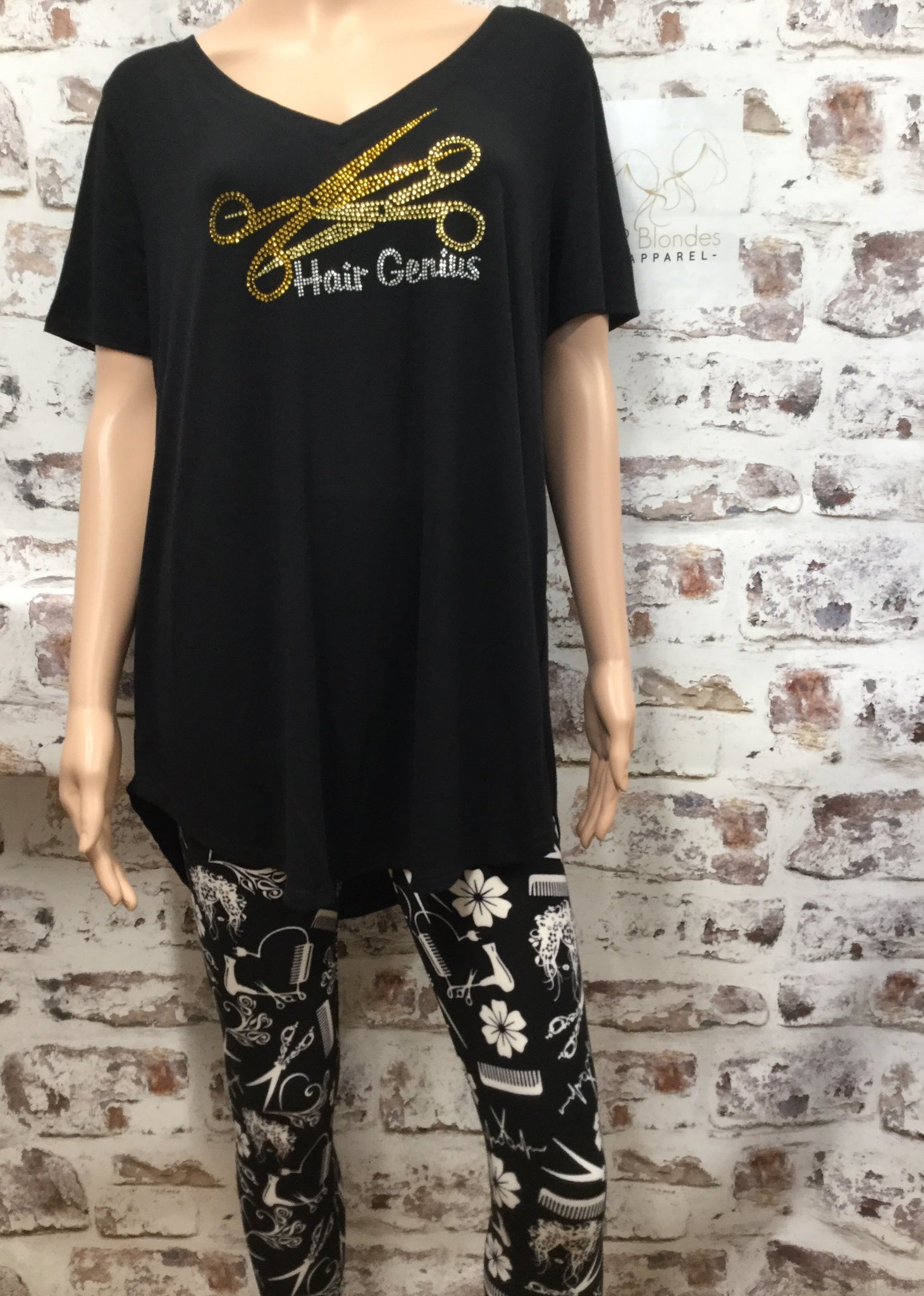 Black V-Neck with Hair Genius Scissor Rhinestone Top