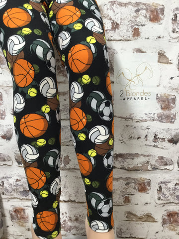 All Athletes Play Ball Printed Leggings