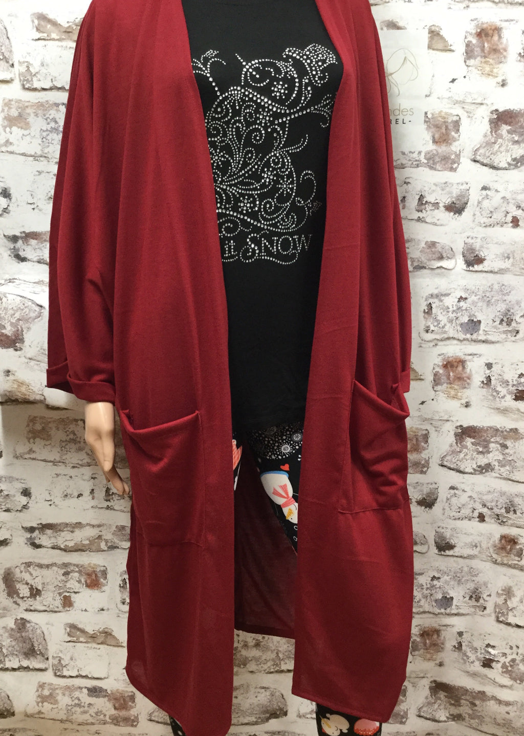 Plus Size Burgundy Hacci Knit Cardigan with Pocket