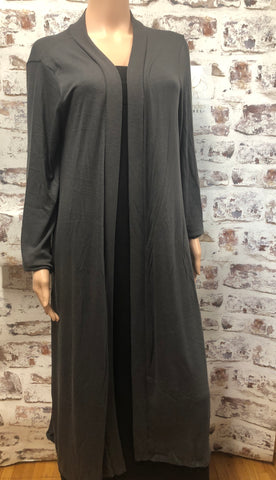 Long Plus Size Gray Cardigan