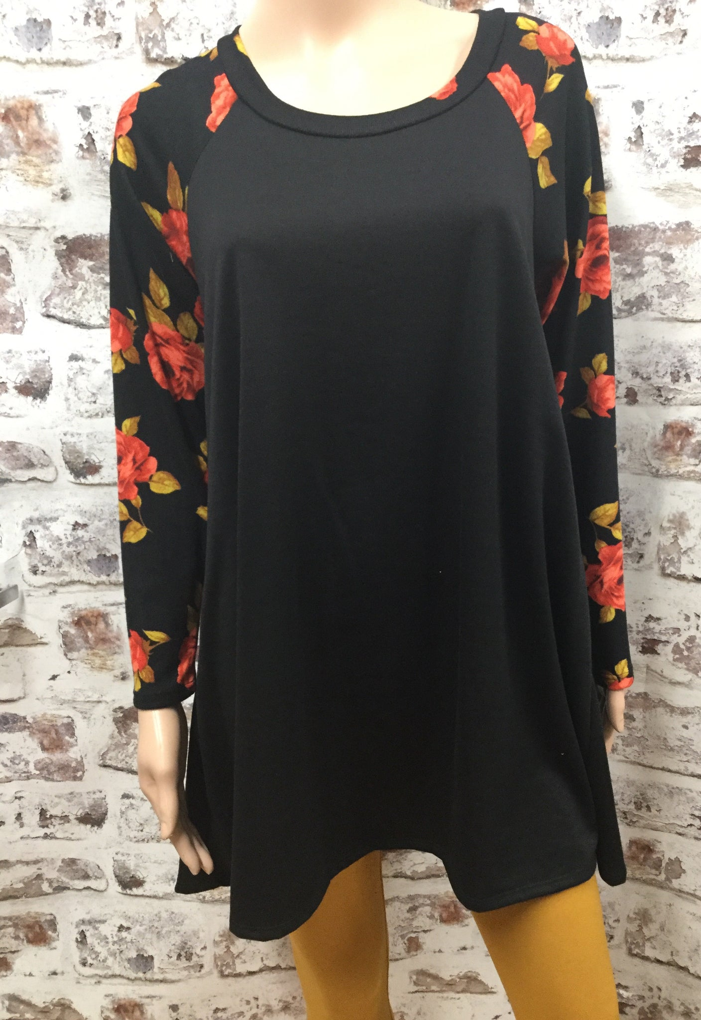 Plus Black with Red  Floral Knit Baseball Top