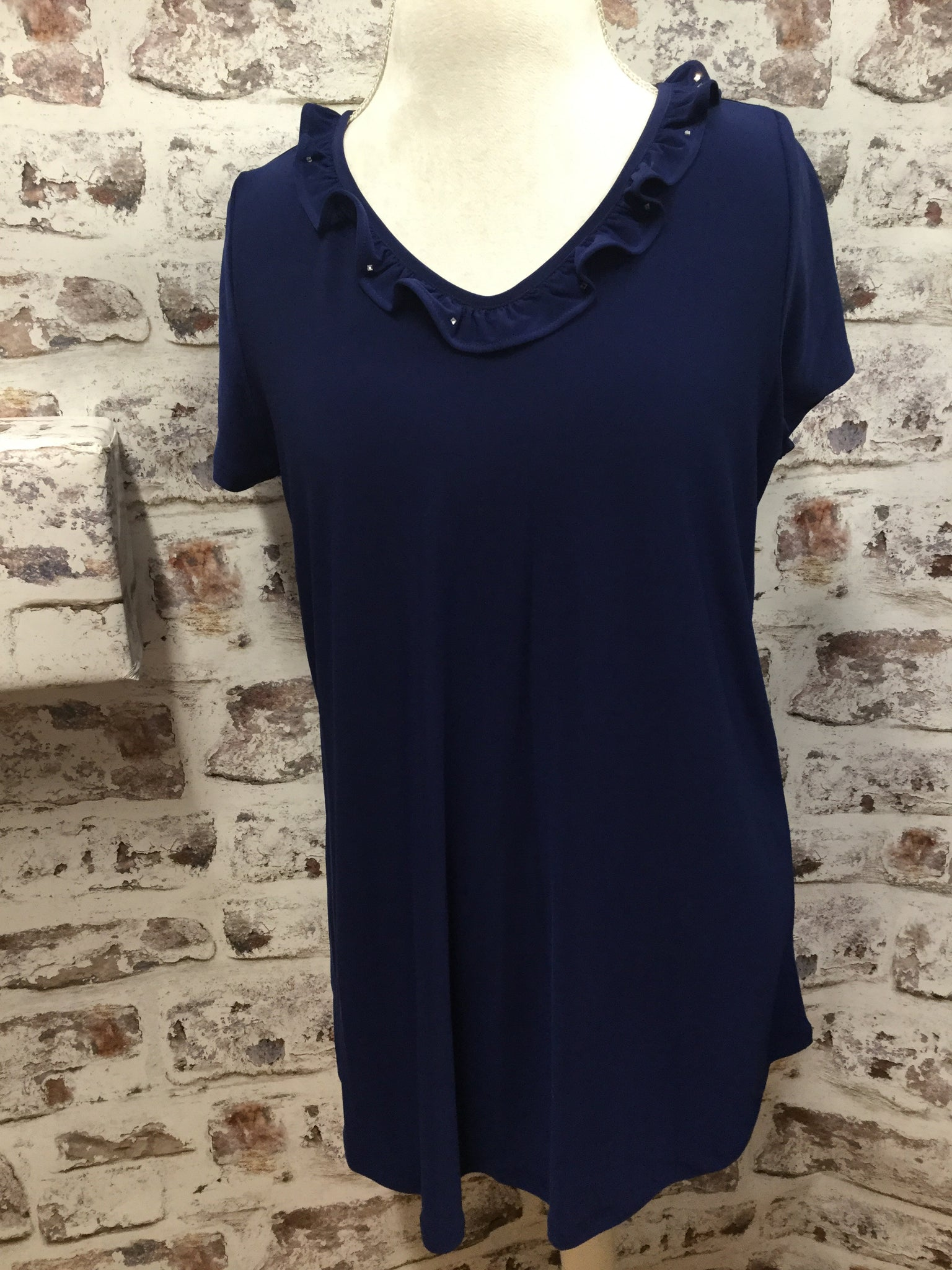 Plus Size Navy Mini Ruffled V Neckline Tunic