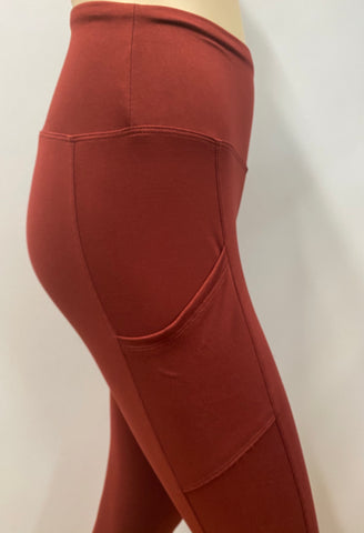 *Pocket Leggings in Brick Red