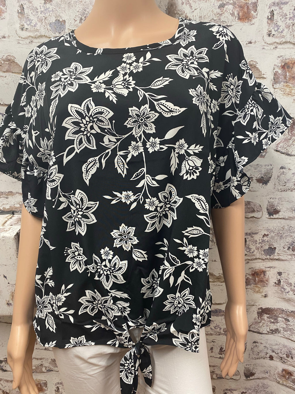 Black and White Floral  Ruffled Sleeve Top with Knotted Accent