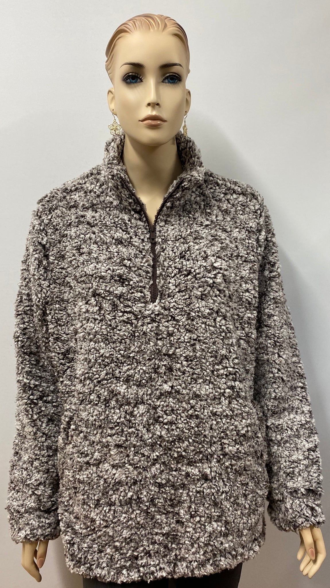 Frosty Tipped  Brown Sherpa Pullover Sweater w/ Pockets