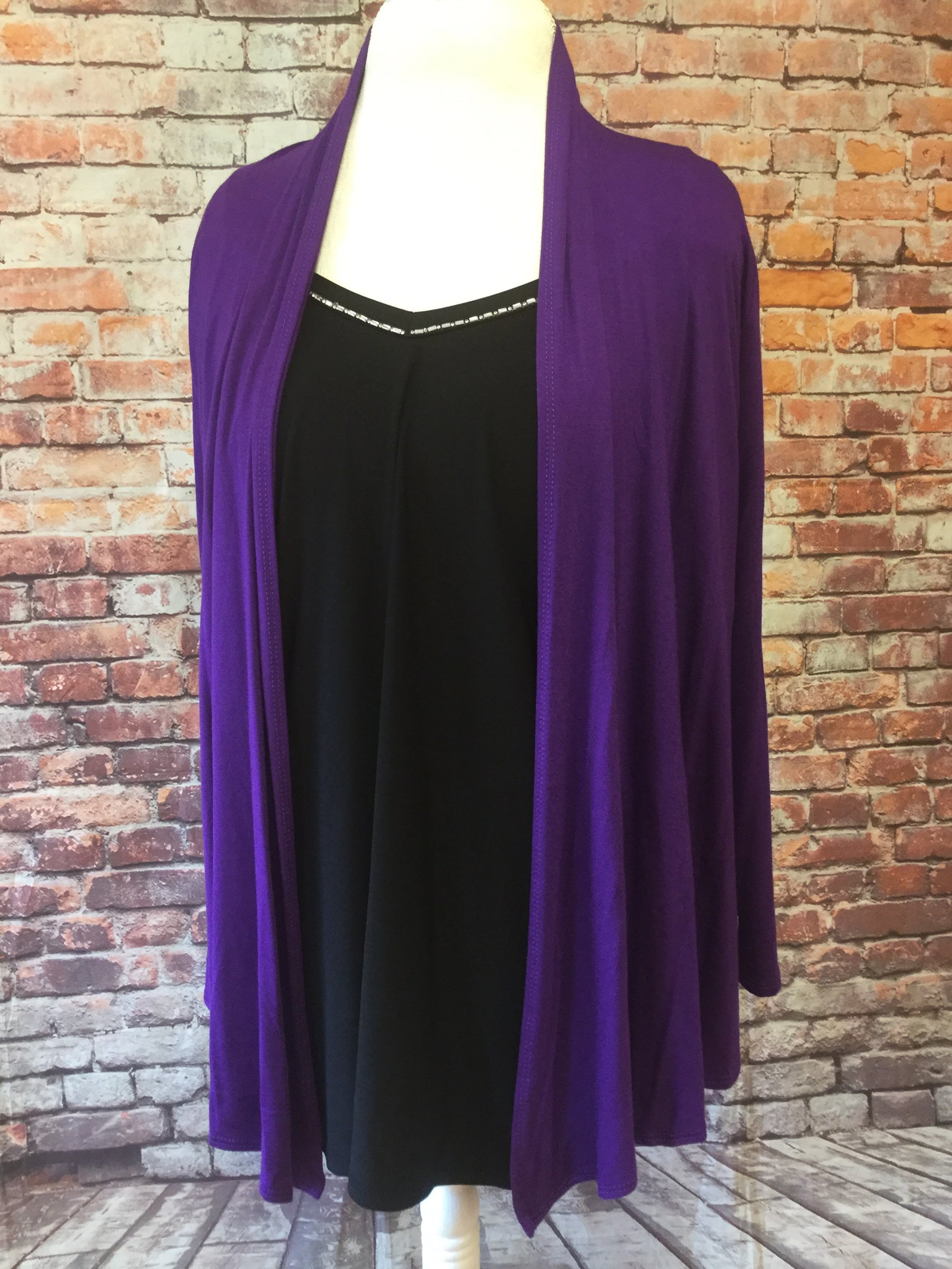 Waist Length Angled Front Purple Cardigan