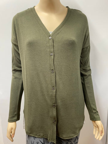 Olive Long Sleeve Button Down  V-Neck Hacci Cardigan