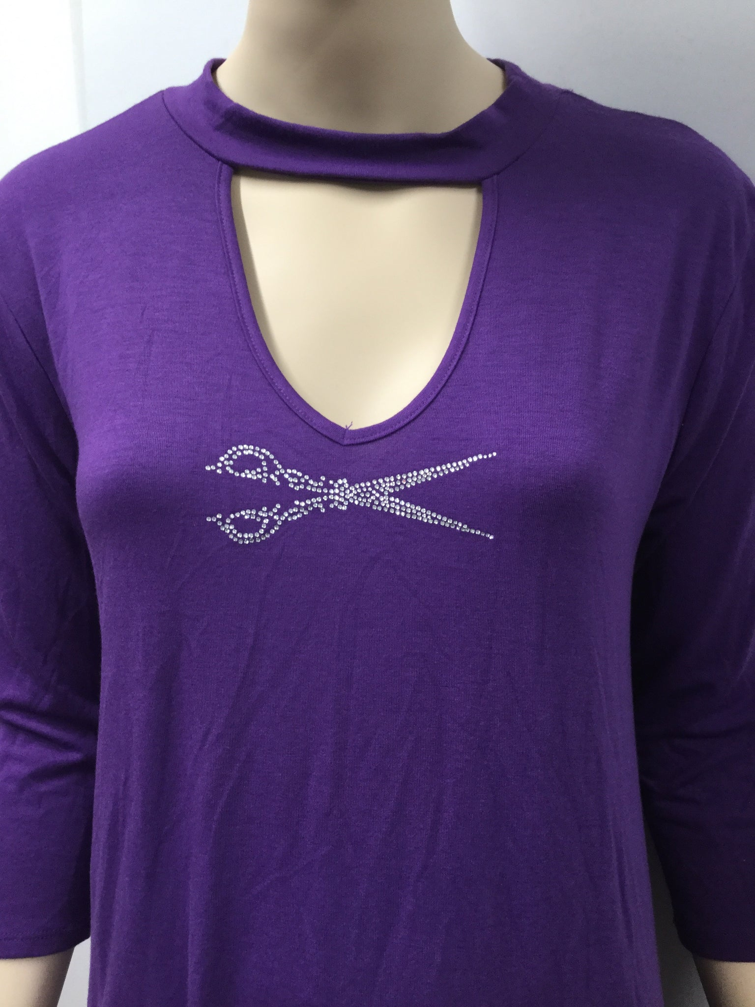 Purple Choker Style Tunic with Pockets and  Scissor Rhinestones