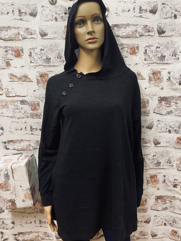 Hooded Tunic with Button Accent