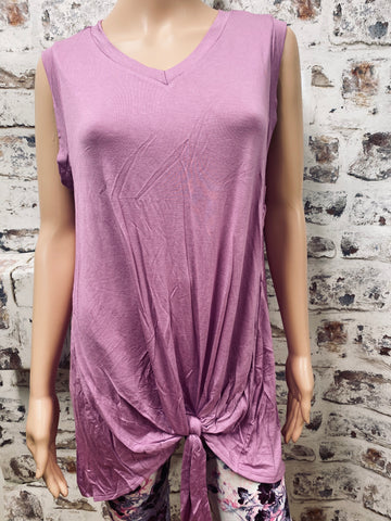 Orchid Sleeveless Top with Knotted Accent