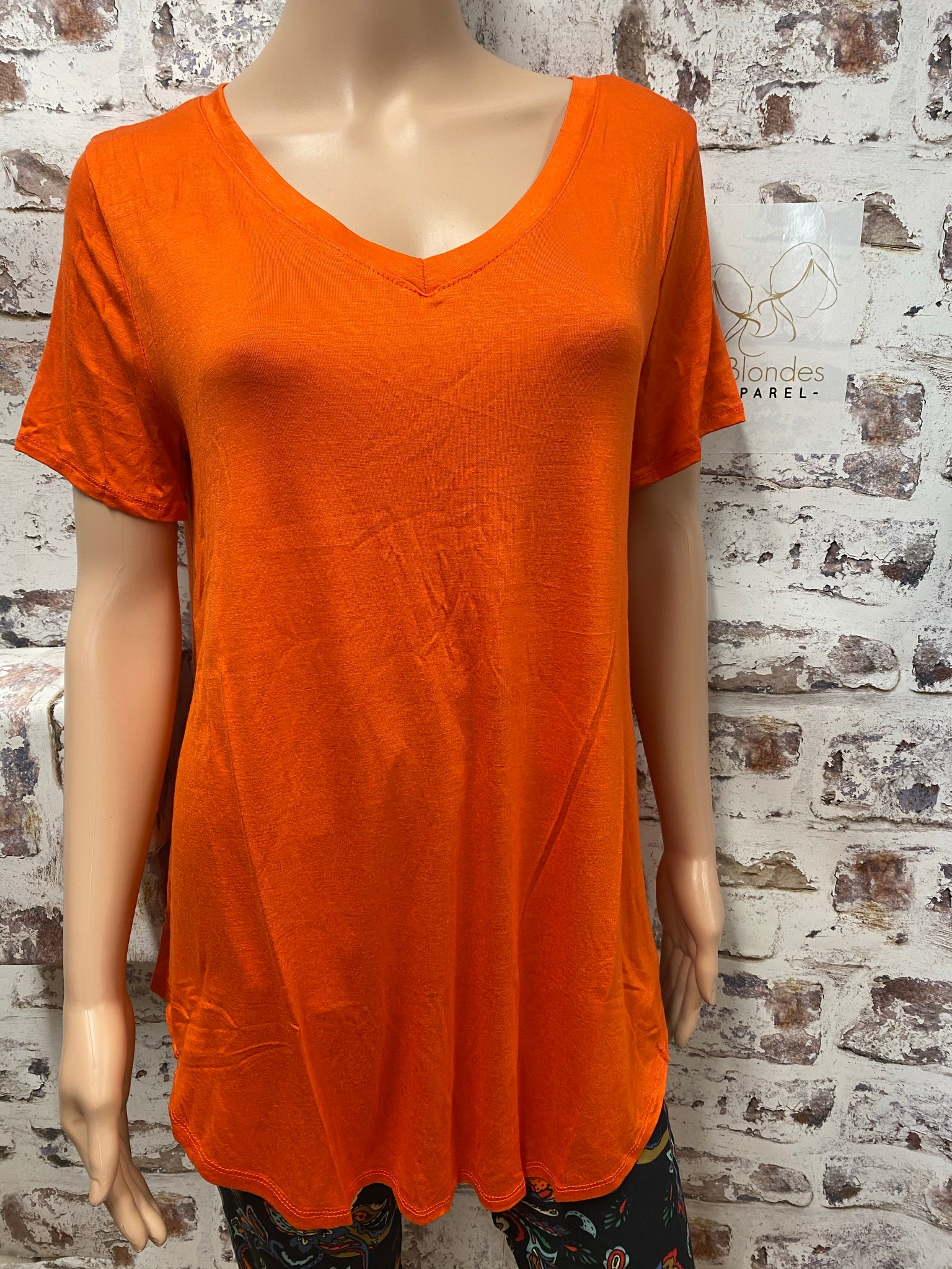 Plus Size Orange  V Neck Short Sleeve Tunic