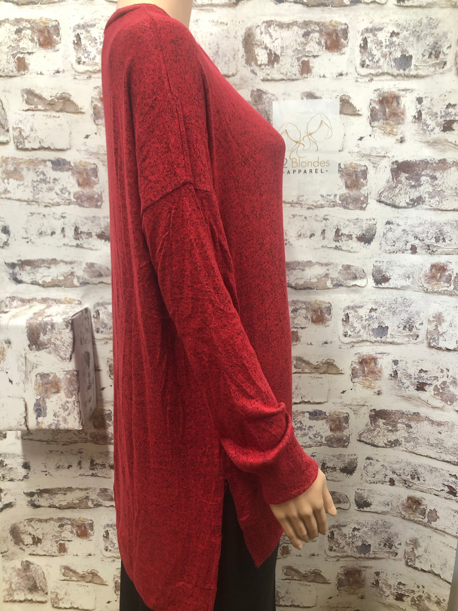 Plus Brushed Melange Hi Low Heather Red Sweater
