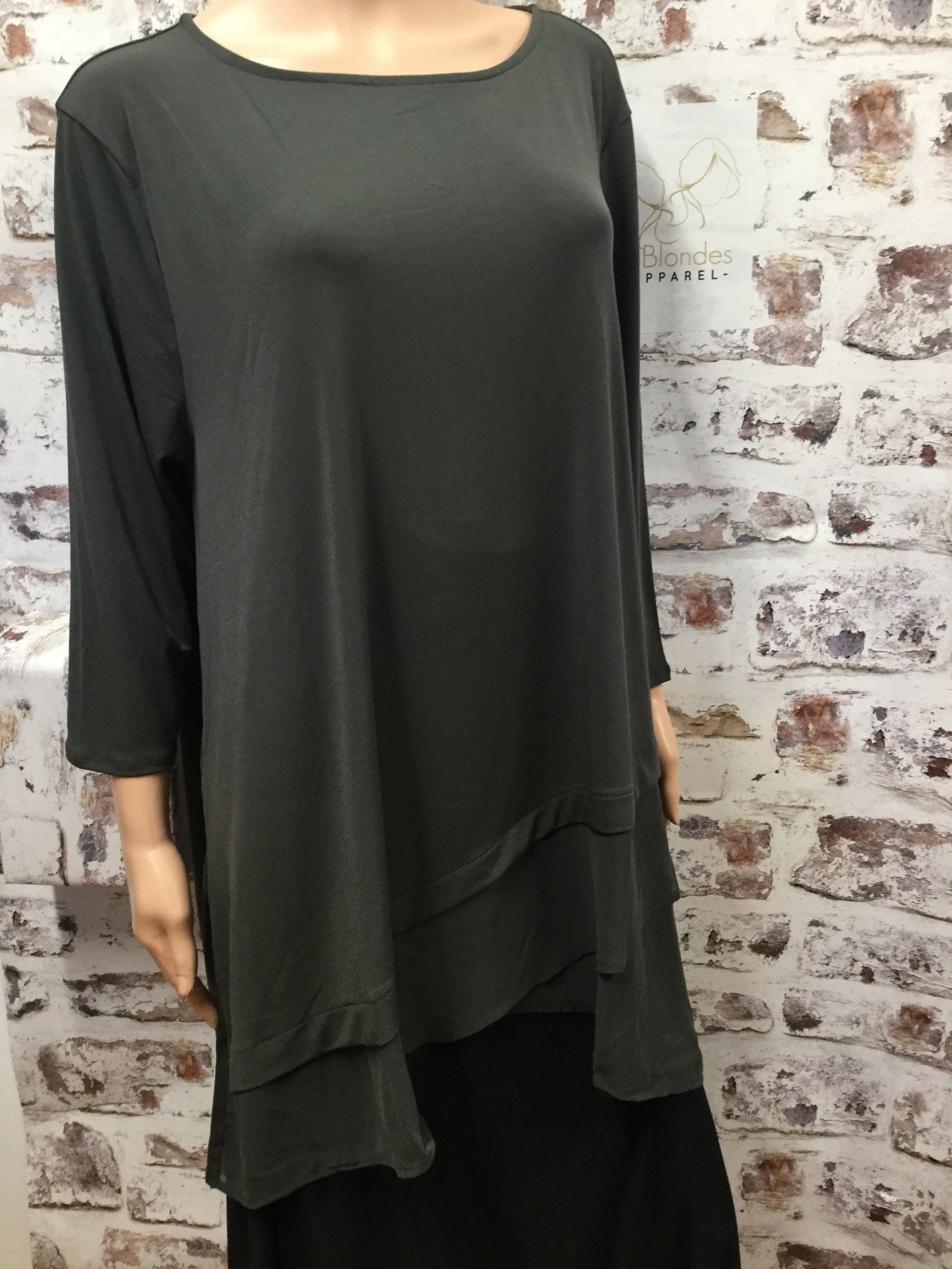 Plus Size Ash Grey Round Neck 3/4 Sleeve with Chiffon Overlap