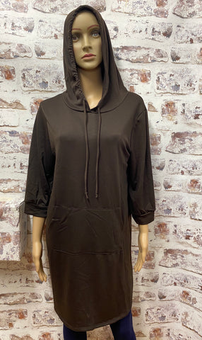 French Terry Tunic Hoodie with A Pocket