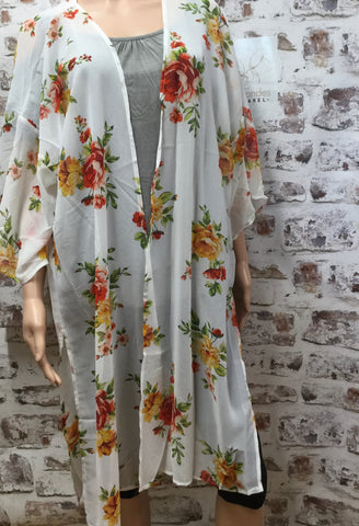 Sheer White Kimono with Flowers