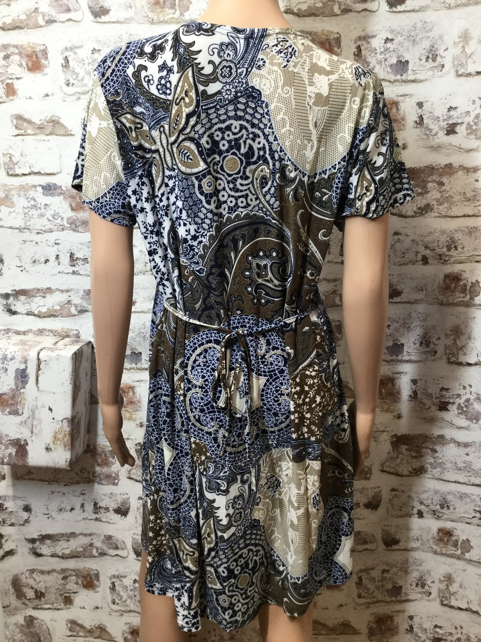 Short Sleeve Printed Mini Dress