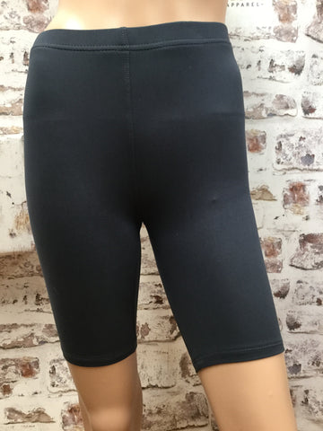 Charcoal Biker Shorts with Elastic Waistband