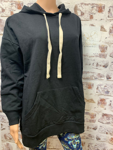 Pull Over Black Hooded Sweatshirt