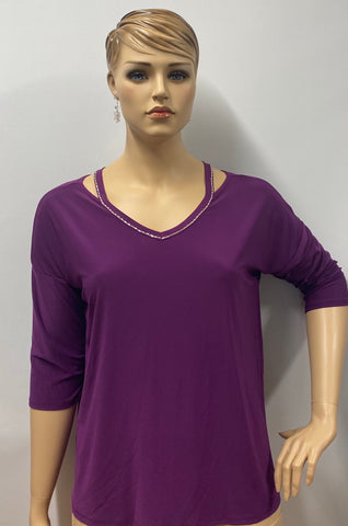 Plus Size Plum Rhinestone Accent 3/4 Sleeve  Tunic