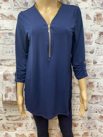 Navy 3/4 Sleeve Top with Zipper Accent