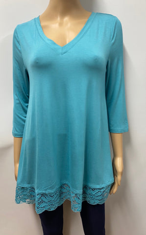 Ash Mint 3/4 Sleeve V-Neck Top with Lace Bottom Trim