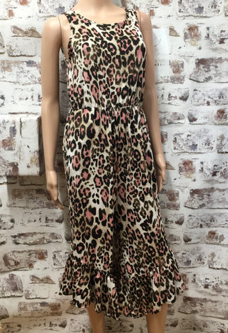 Pink Animal Print Sleeveless Jumpsuit