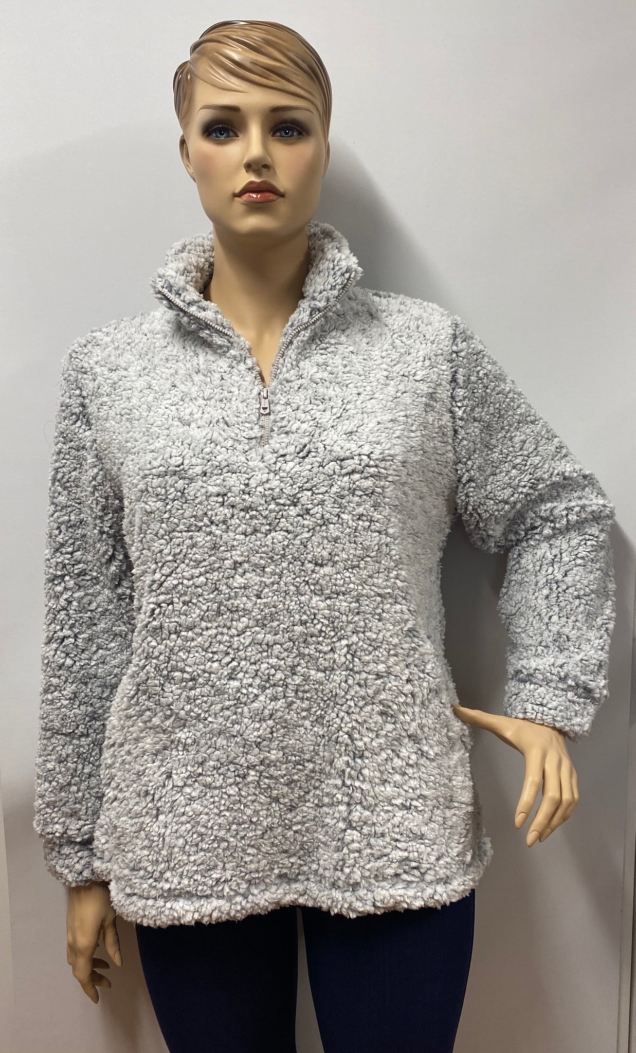 Plus Frosty Tipped Gray Sherpa Pullover Sweater w Pockets