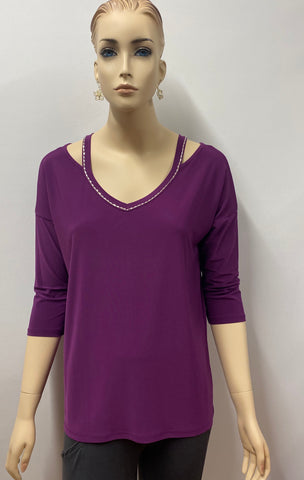 Plum Rhinestone Accent 3/4 Sleeve Tunic