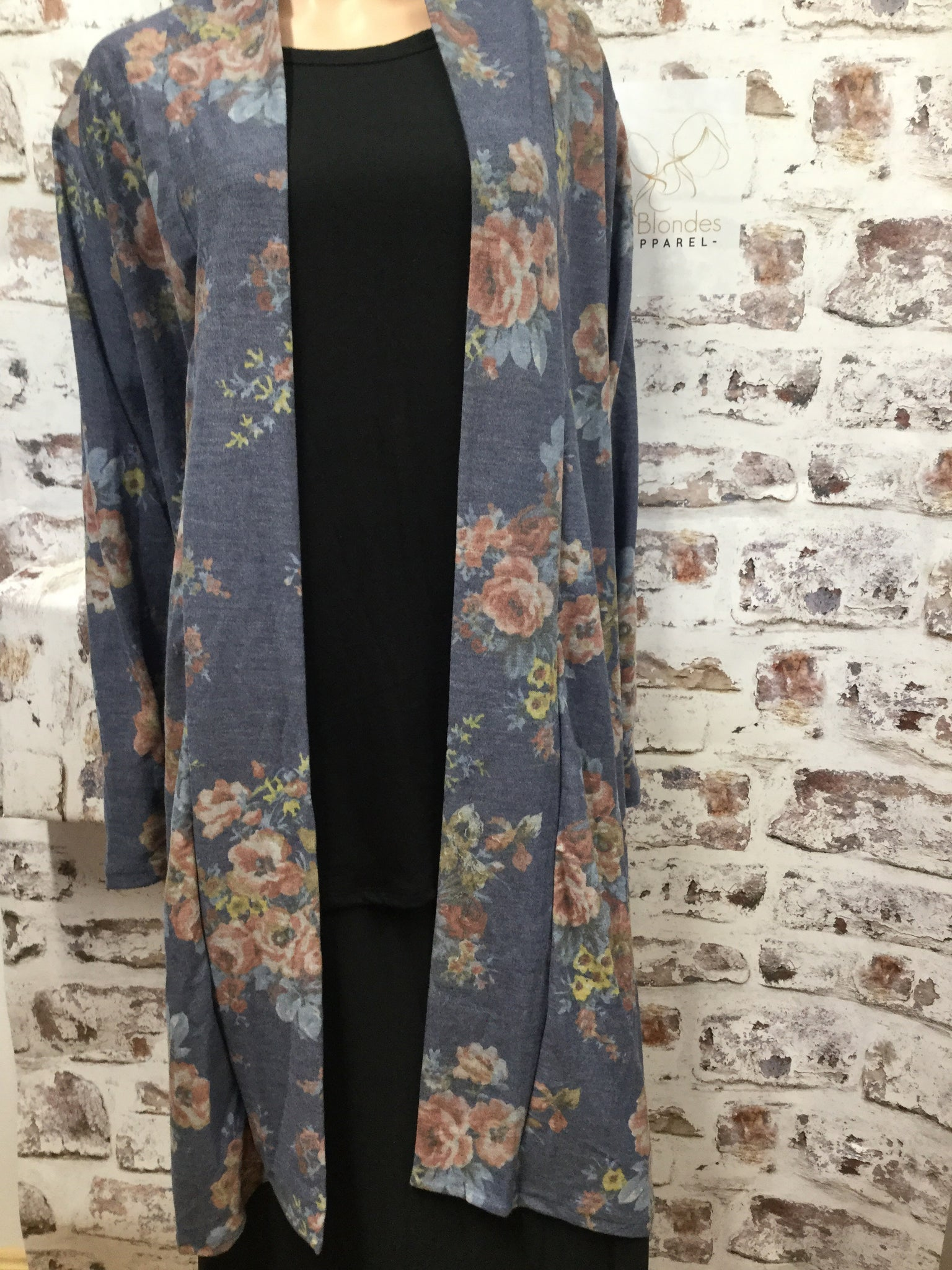 Plus Navy Floral Duster Style Cardigan