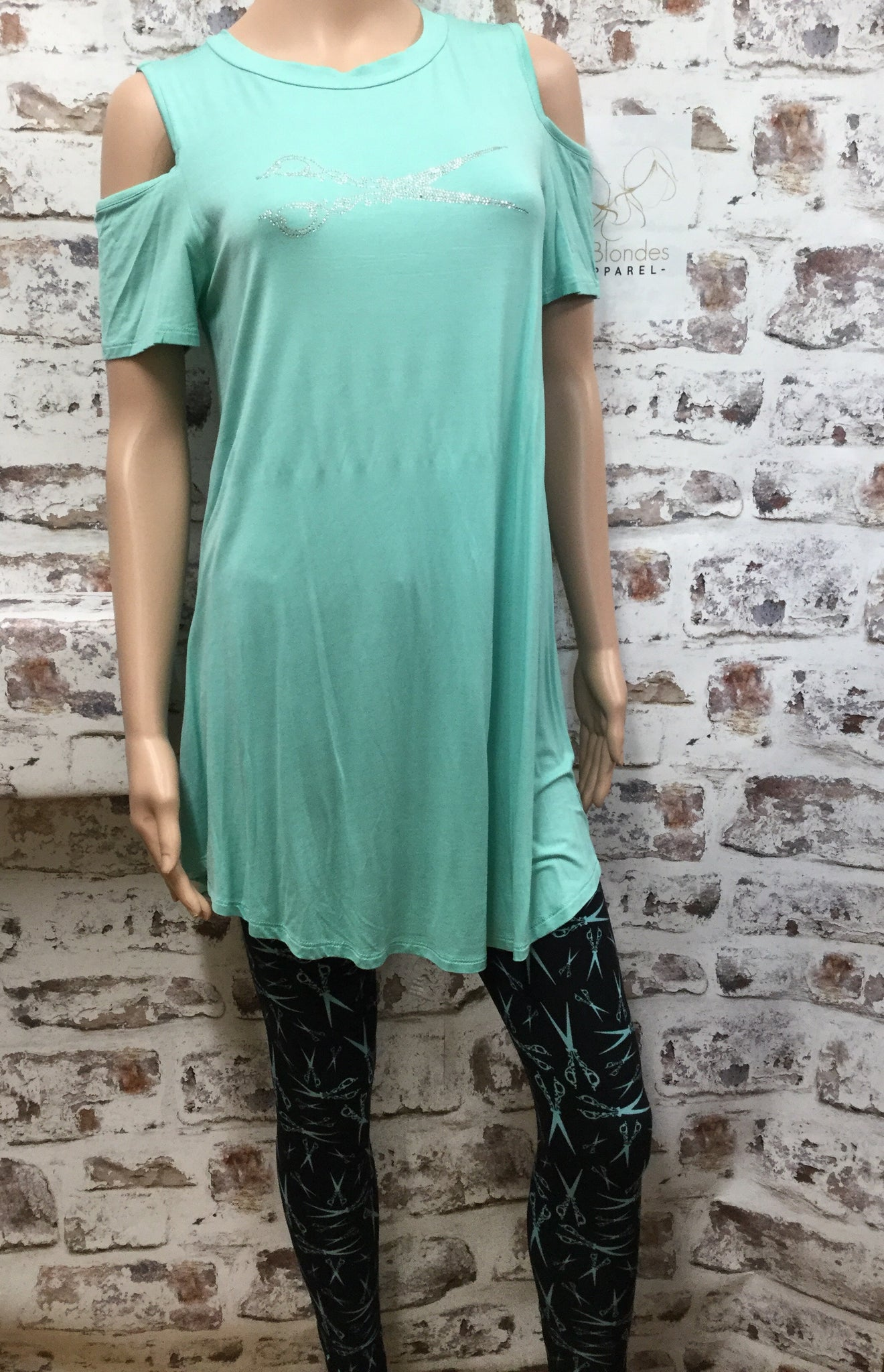 Mint Cold Shoulder  with Large Scissor  Rhinestone