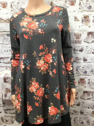 Heather Gray Floral Dress Top with Pockets