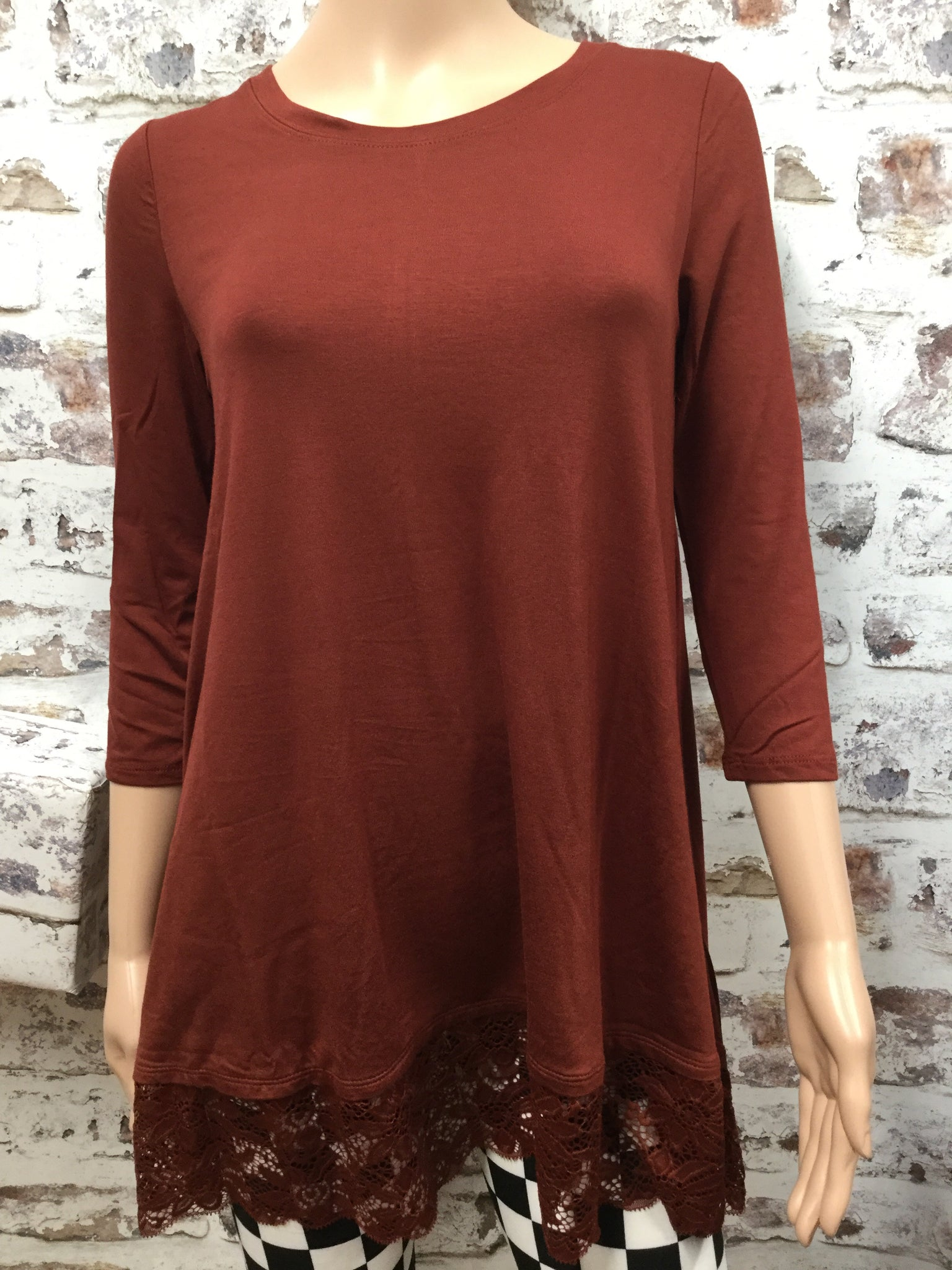 Rust 3/4 Sleeve Top with Lace Bottom
