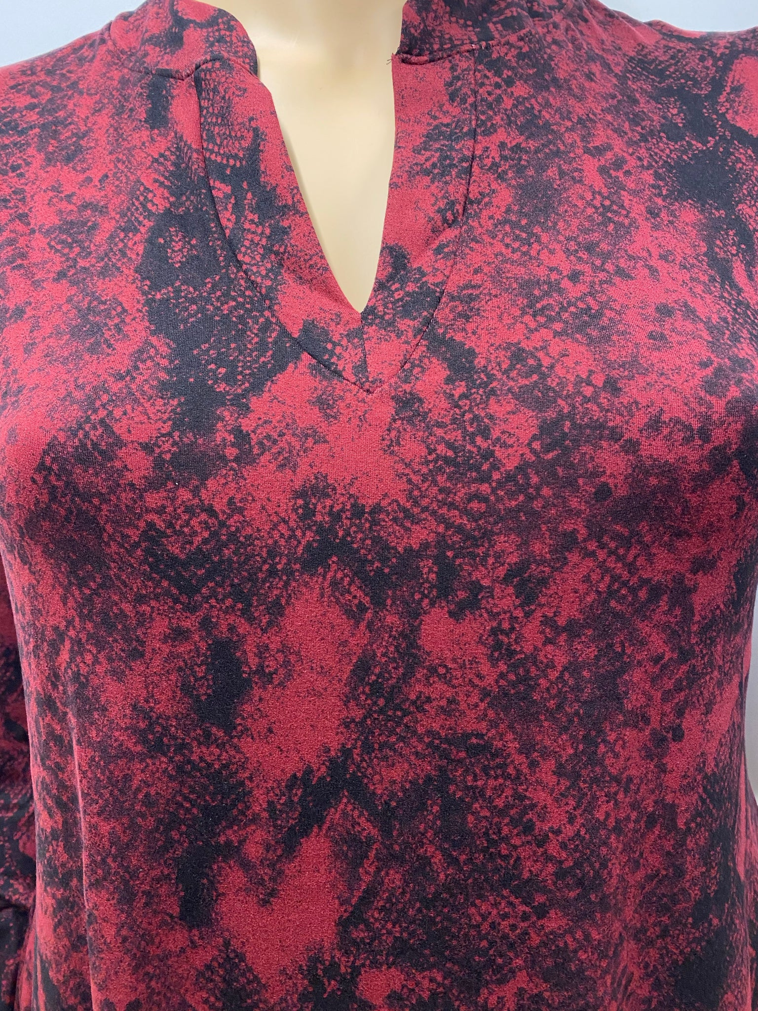 Plus Burgundy Snakeskin Print Tunic with Bell Sleeve