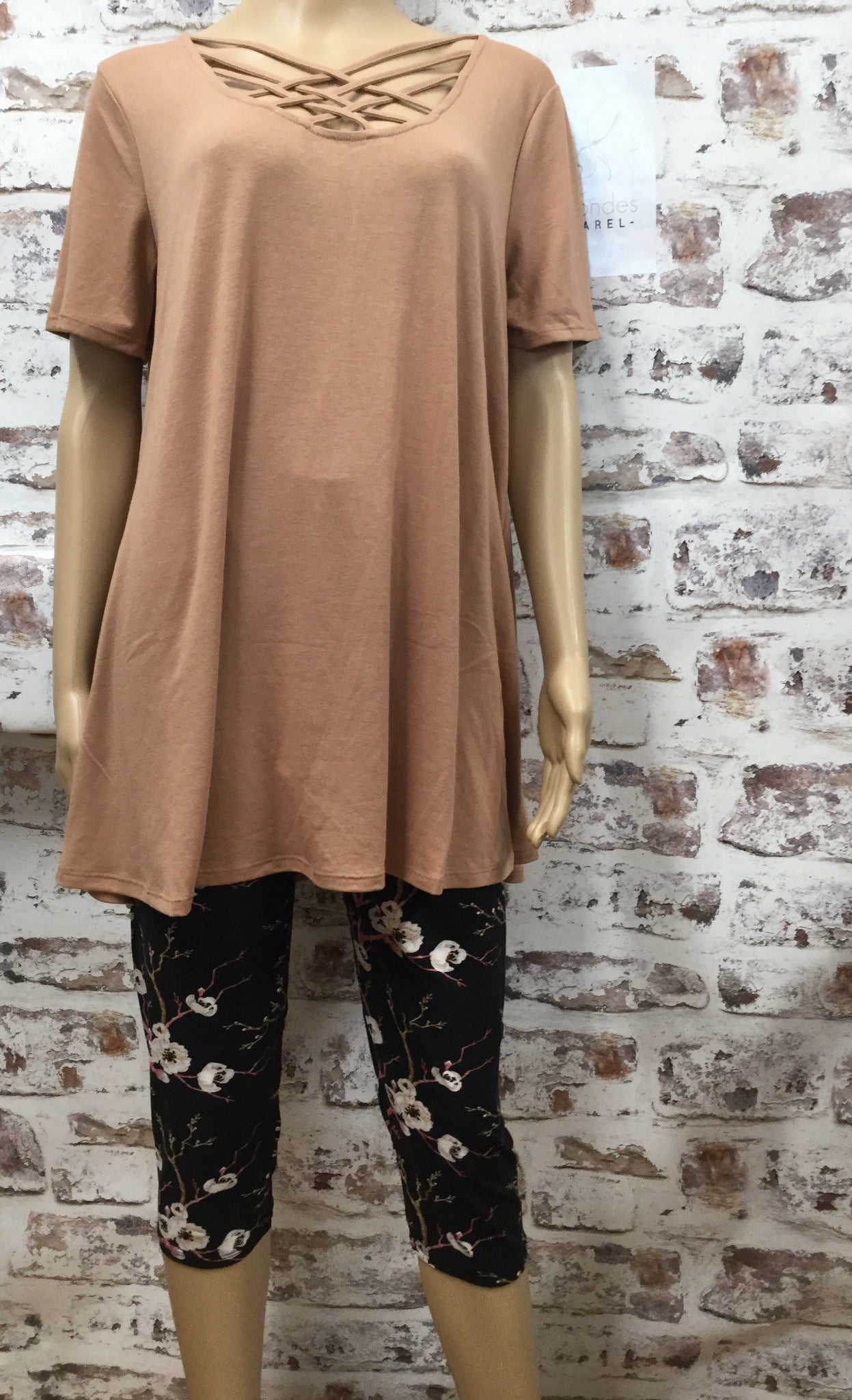 Plus Size Mocha Lattice Tunic