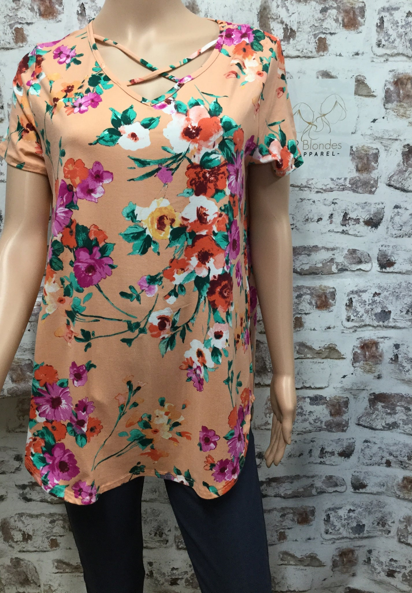 Peach Floral Printed Crisscross V Neck Top