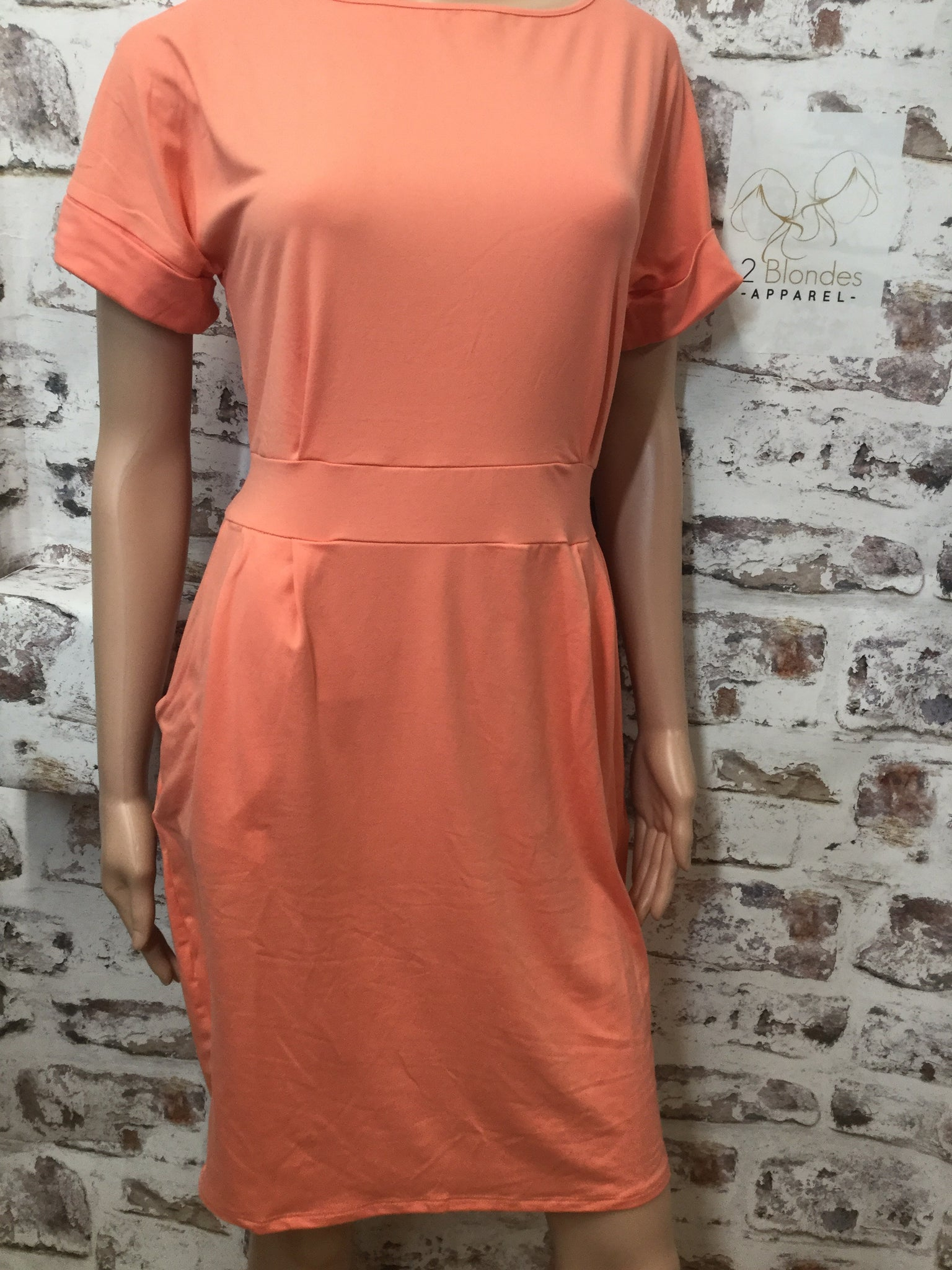 Coral  Dress with Cuffed Short Sleeves and  Pockets