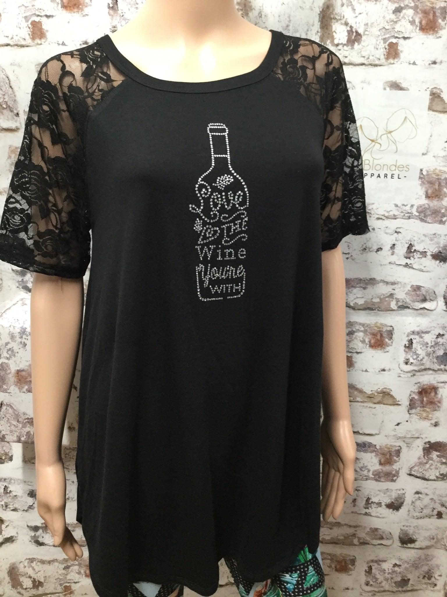 Black V Neck with Lace Sleeve and Custom Rhinestones Top